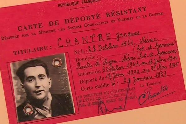 """La carte de """"déporté résistant"""" de Jacques Chantre."""