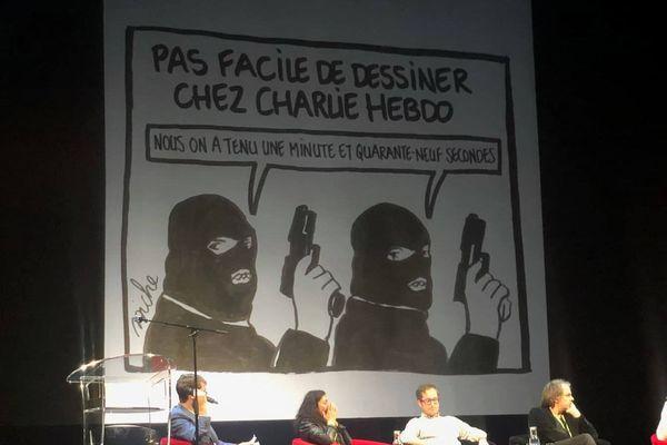 Un dessin de Biche qui tourne en dérision l'attentat qui a endeuillé la rédaction.