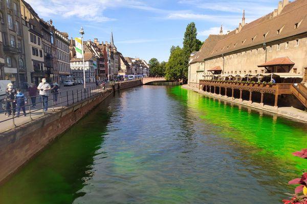 L'eau de l'Ill est devenue verte fluo quelques minutes, intriguant les promeneurs
