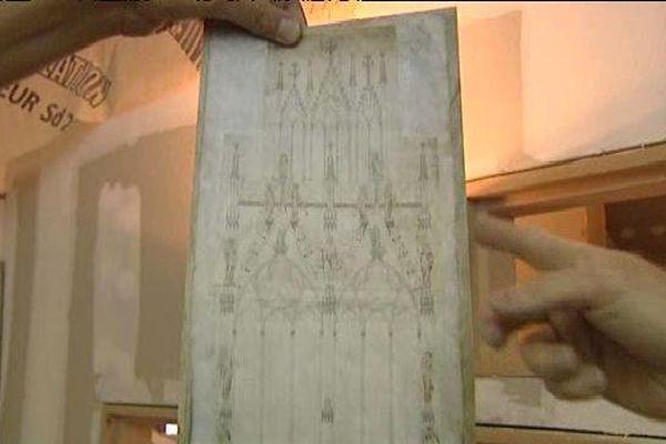 Un des plans des bâtisseurs de la Cathédrale de Strasbourg
