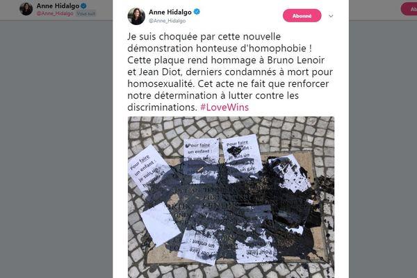 La maire de Paris avait réagit dès le lendemain de la dégradation.