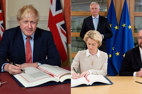 Le Premier ministre britannique et les dirigeants de l'Union Européenne ont signé vendredi l'accord de divorce.