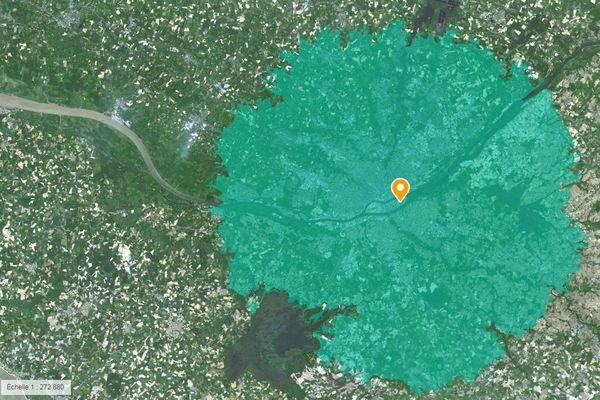La zone de 20 kilomètres autorisée autour de France 3 Pays de la Loire