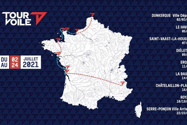Carte des étapes du Tour Voile