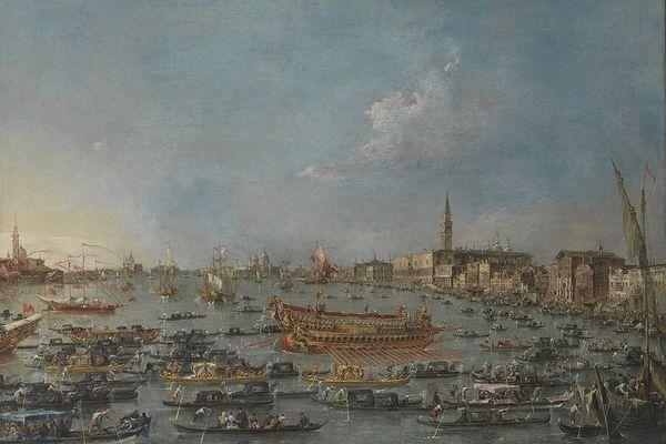 """Beaucoup d'oeuvre de peintres vénitiennes ont représenté la fameuse galère dont ici """"Le Bucentaure à Venise"""" par Francesco Guardi en 1768 (Musée du Louvre)."""