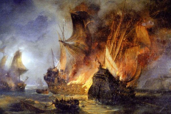 Le combat de la Cordelière contre une flotte anglaise, en 1512, au large de Saint-Mathieu, peinte en 1838 par Pierre-Julien Gilbert