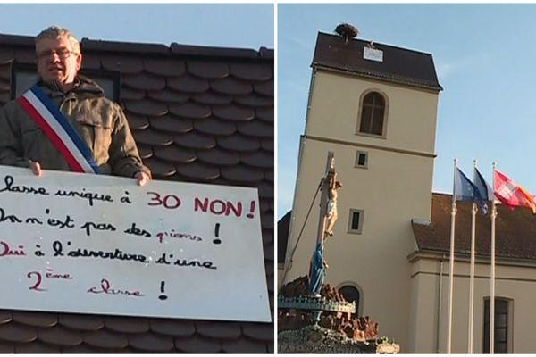 """Georges Heim, le maire de Froeningen, est monté sur le toit de l'église mardi 5 février pour demander l'ouverture d'une nouvelle classe dans l'école du village, refusée par l'inspectrice académique. Il tient une pancarte avec inscrit : """"Classe unique à 30 non ! On n'est pas des pions ! Oui à l'ouverture d'une deuxième classe""""."""