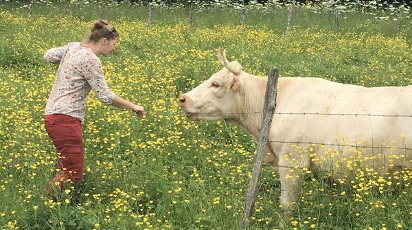 Emilie a un lien particulier avec ses vaches