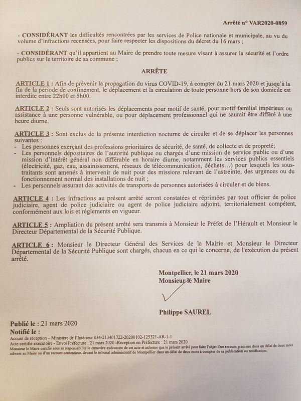 La 2ème page de l'arrêté instaurant un couvre-feu à Montpellier pour lutter contre le coronavirus