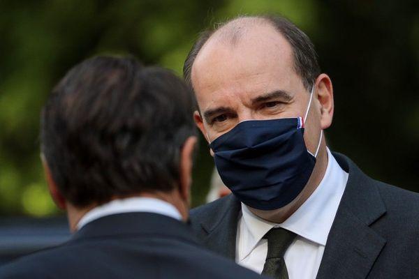 Le Premier ministre Jean Castex lors de son arrivée, le 7 novembre 2020,  à la cérémonie de l'hommage national aux trois victimes de l'attaque de la basilique Notre-Dame de Nice.