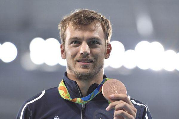 Christophe Lemaitre à Rio le 19 août 2016, lorsqu'il remporte la médaille de bronze du 200m.