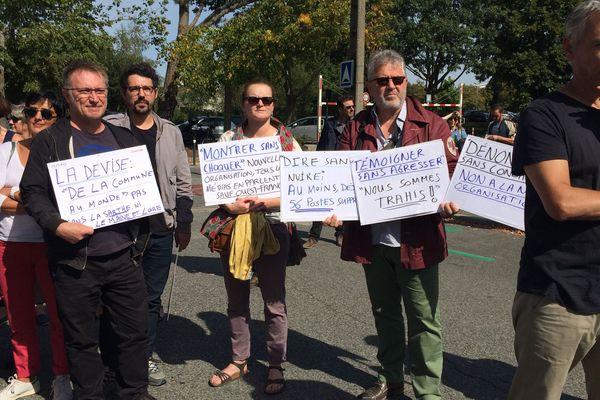 Les salariés de Ouest-France devant le siège social du groupe, le 17 septembre 2018