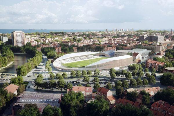 Vue aérienne du futur stade Tribut de Dunkerque.