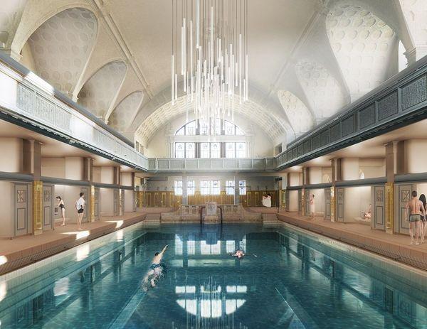Le grand bassin des bains municipaux de Strasbourg