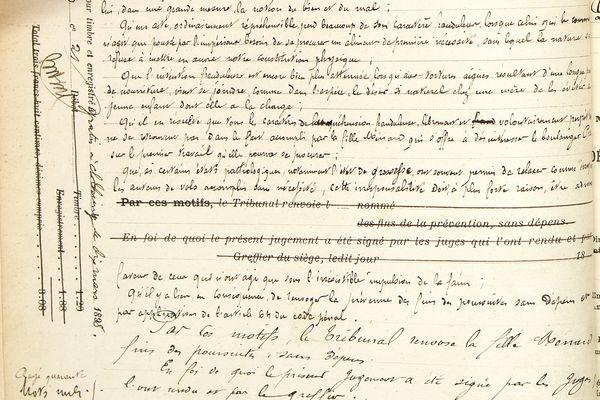 Extrait du jugement de Louise Ménard au tribunal de Château-Thierry, le 4 mars 1898.