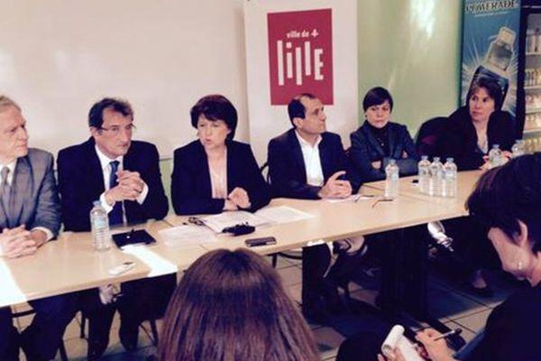 Martine Aubry aux côtés de François Lamy ce mardi à Lille.