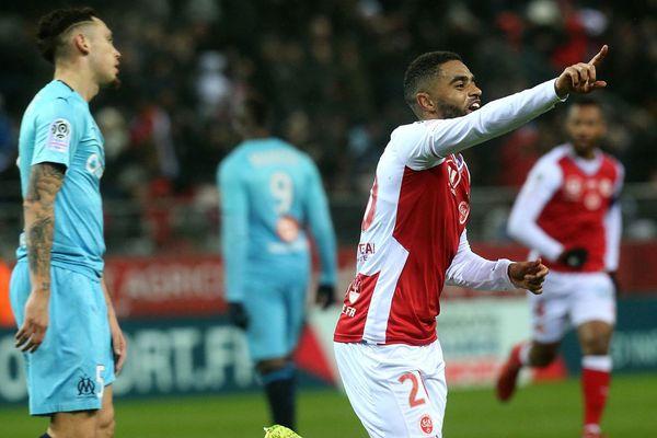 Ligue 1 - L dépite des Marseillais après le but du défenseur de Reims Tristan Dingome au stade de Reims, le 2 février 2019.