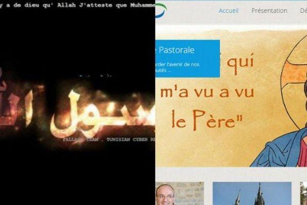 A gauche, le site piraté, à droite le site véritable des paroisses de Charleville-Mézières