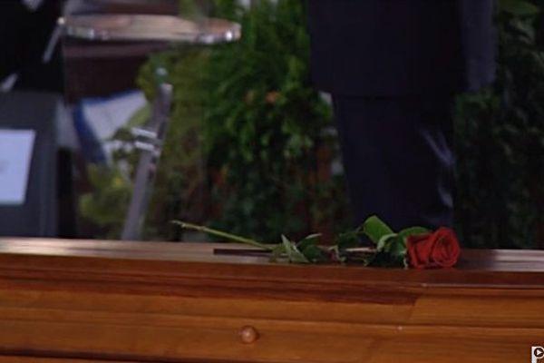 Cercueil de Christian Bourquin lors de ses obsèques à Millas le 29 août 2014