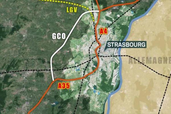 Tracé du projet de Grand Contournement Ouest de Strasbourg