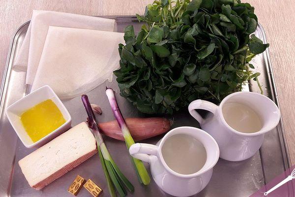 Les ingrédients du velouté de cresson et croustillant de maroilles
