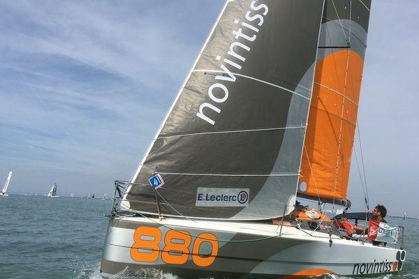 Boris Pelsy à bord de son bateau Novintiss lors du prologue de la Mini-Transat 2017 le 24 septembre.