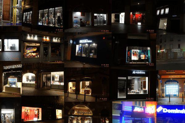 A Toulouse, les vitrines des magasins, éclairées la nuit, ont été prises en photo par des bénévoles.