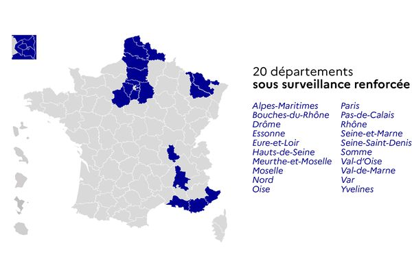 20 départements français sous surveillance renforcée