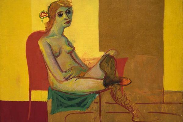 """""""Nu au bas rouges """", une huile sur toile de Tal Coat, peinte en 1934."""