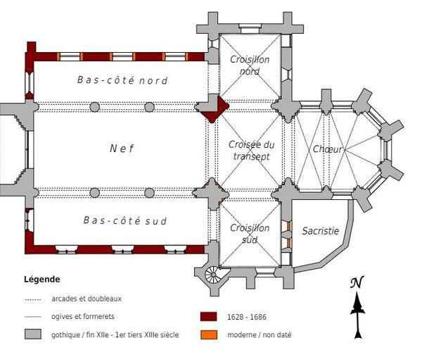 Une église classique catholique se présente en forme de croix : l'entrée se fait par la nef où se placent les fidèles, le transept coupe celle-ci à la perpendiculaire et le chœur se situe derrière, tout au fond (ici l'exemple de celle de Vauciennes dans l'Oise, non fortifiée).
