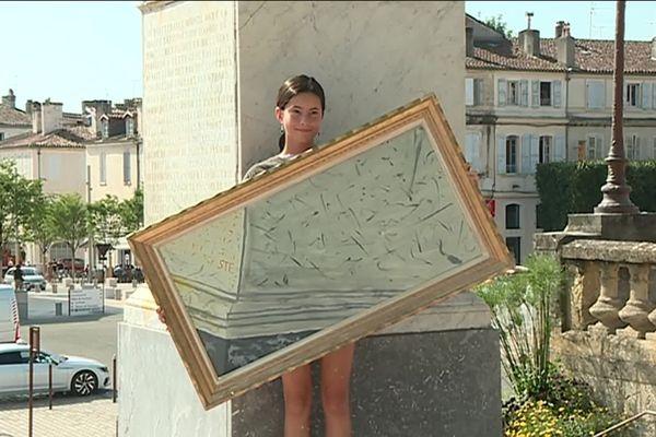 Une des peintures réalisées par les adolescents sur la statue d'Etigny