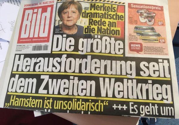 Le quotidien allemand Bild titrait, jeudi 19 mars : le plus grand depuis la Seconde Guerre mondiale. Un propos tenu par la chancelière Angela Merkel.