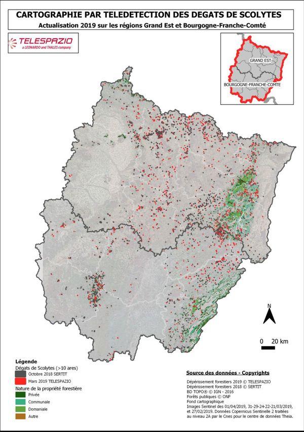 Cartographie des dégâts de scolytes sur le Grand Est et en Bourgogne Franche Comté.