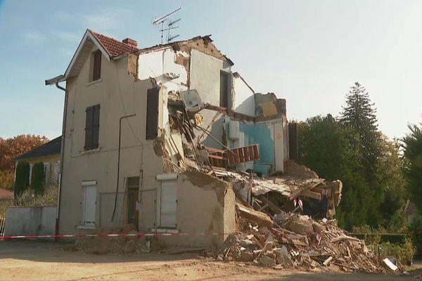La maison qui s'est écroulée à Pont-de-Chéruy le 24 octobre 2020.