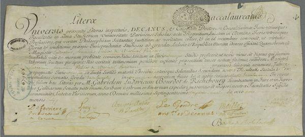 Le 9 juillet 1732, Louis-François Palisot de Warluzel, futur premier président du conseil provincial d'Artois comme son père, reçoit son attestation de réussite au baccalauréat de droit délivrée par la faculté de droit de Paris.