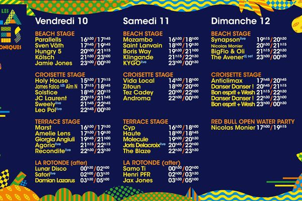 La programmation de ces trois jours de festival.
