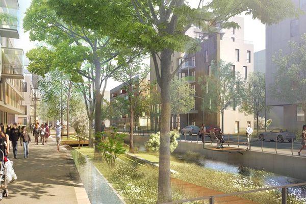 Impression d'artiste du futur éco-quartier Lucilines à Rouen.