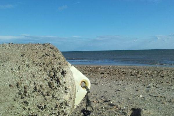 La plage de Sérignan d'où est parti le véliplanchiste samedi à 14 h 00;