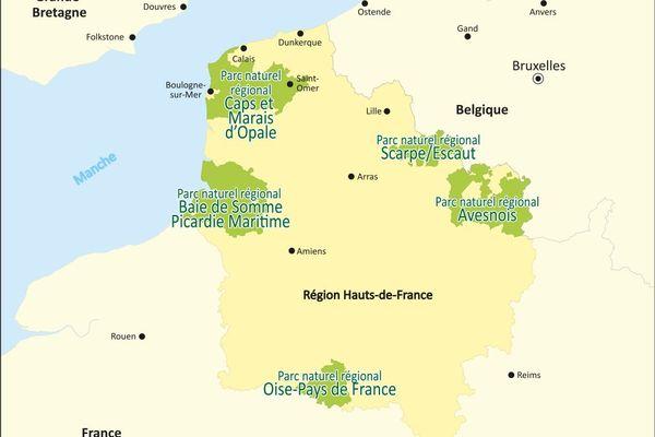 Carte des Parcs naturels régionaux des Hauts-de-France