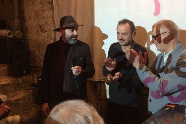 Kianoush Ramezani, ici à gauche, à la remise du Prix Couilles au cul 2018