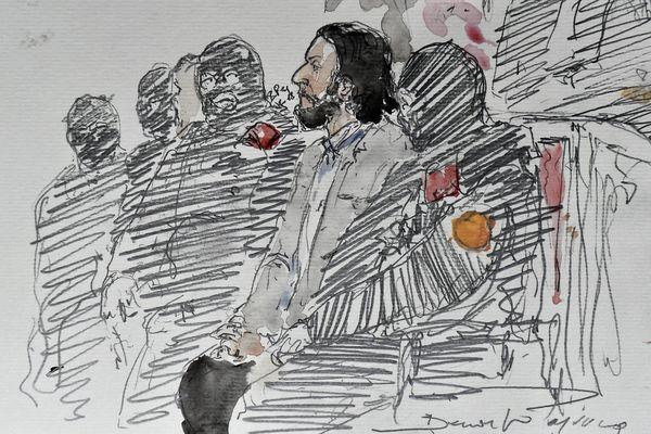 Croquis de Salah Abdeslam, ce lundi matin au palais de justice de Bruxelles.