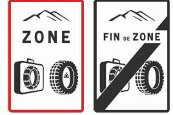 Voici les panneaux qui indiqueront les zones concernées par le port obligatoire d'équipements hivernaux.