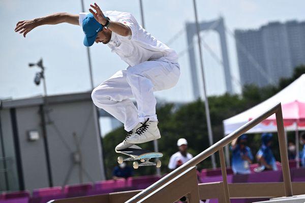 Le Landais Vincent Milou termine à la 4e place de l'épreuve de street en skateboard aux Jeux Olympiques de Tokyo, dimanche 25 juillet. C'est la première fois que la discipline figure au programme olympique.