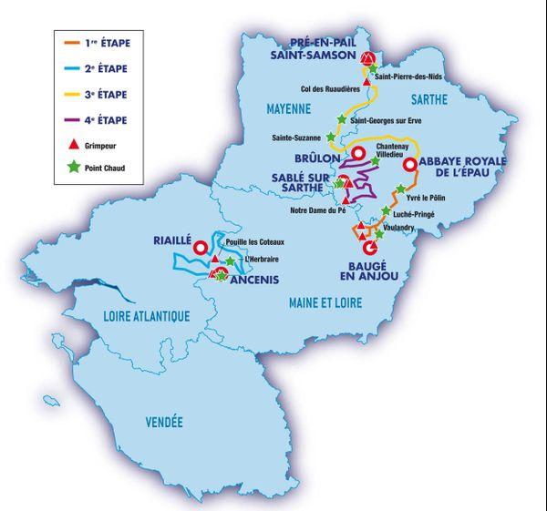 Les étapes du circuit cycliste Sarthe Pays de la Loire 2018