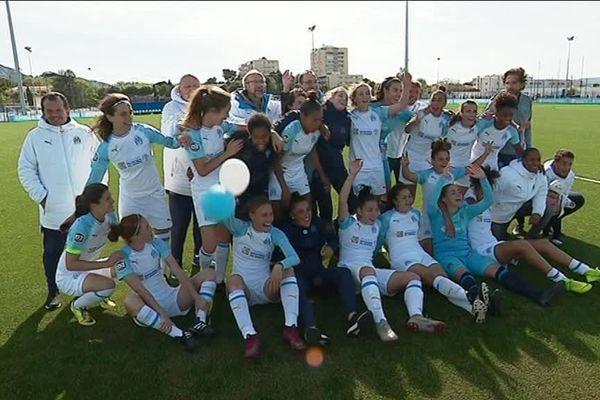 L'équipe féminine de l'OM après la victoire cet après-midi