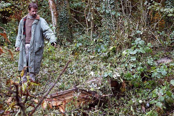 Le 29 octobre 2003 Philippe Gava indique le lieu de sa découverte, en forêt de Galfingue