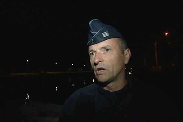 Pierre Leleu, commandant de la CRS 15 de Béthune, chargé du maintien de l'ordre place de la Contrescarpe le 1er mai 2018 à Paris.