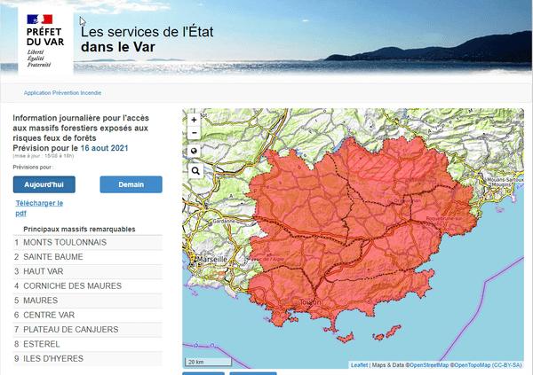 Prévision pour l'accès au massif forestier du Var