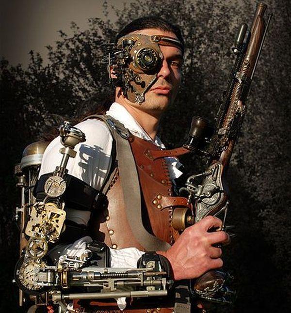 Les costumes Steampunk sont souvent à base de cuivre, laiton, bois, cuir