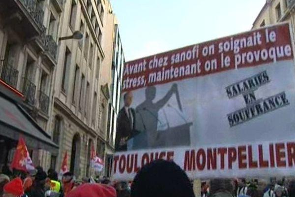 Paris : manifestation des Sanofi contre les suppressions de postes notamment dans la recherche - 16 janvier 2013.